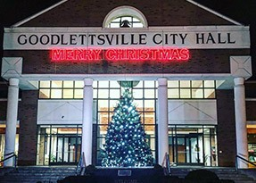 Goodlettsville City Hall decorated with holiday lights