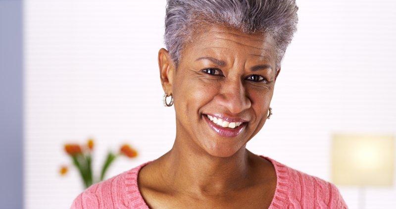 older woman smiling nice teeth