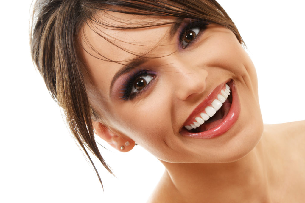 attractive young woman smiling nice teeth