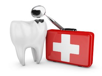 A first-aid kit used by an emergency dentist