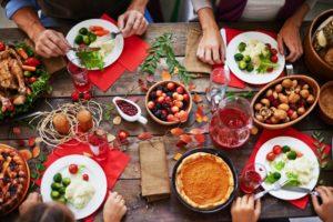 holiday food spread