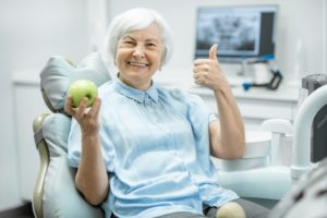woman with implant-retained dentures in Goodlettsville